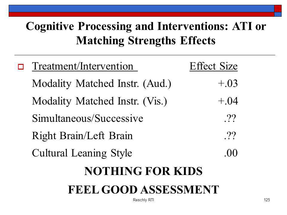 Reschly RTI125 Cognitive Processing and Interventions: ATI or Matching Strengths Effects Treatment/Intervention Effect Size Modality Matched Instr.