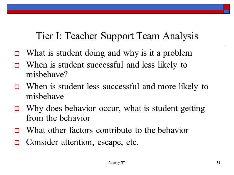 Reschly RTI81 Tier I: Teacher Support Team Analysis What is student doing and why is it a problem When is student successful and less likely to misbeh