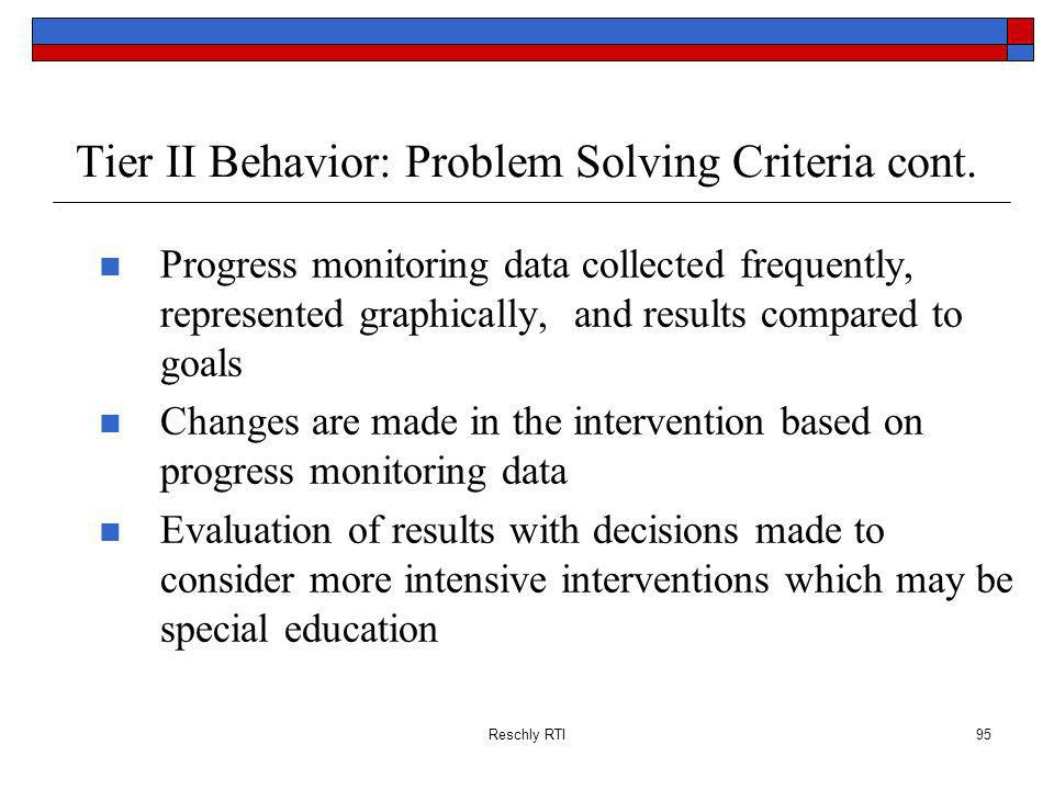 Reschly RTI95 Tier II Behavior: Problem Solving Criteria cont.