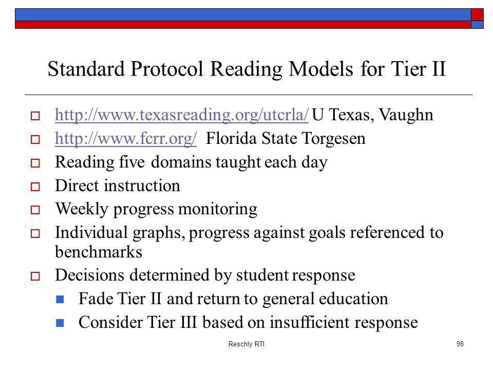 Reschly RTI98 Standard Protocol Reading Models for Tier II http://www.texasreading.org/utcrla/ U Texas, Vaughn http://www.texasreading.org/utcrla/ htt