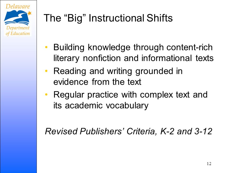 The Big Instructional Shifts Building knowledge through content-rich literary nonfiction and informational texts Reading and writing grounded in evide