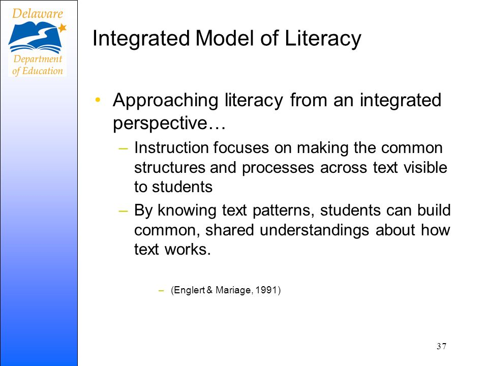 Integrated Model of Literacy Approaching literacy from an integrated perspective… –Instruction focuses on making the common structures and processes a