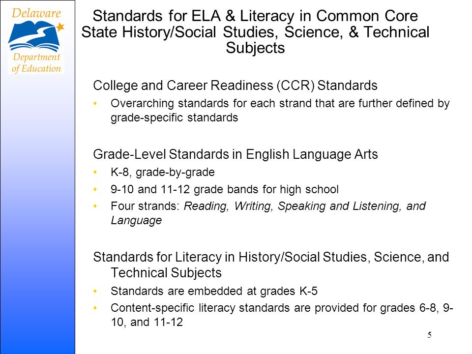 READINGWRITING SPEAKING & LISTENING LANGUAGE 10 Anchor Standards for College and Career Readiness 10 Anchor Standards for College and Career Readiness 6 Anchor Standards for CCR ELA Standards K-12 Literacy Standards 6-12 ELA Standards K-12 Literacy Standards 6-12 Literary Text Hist.