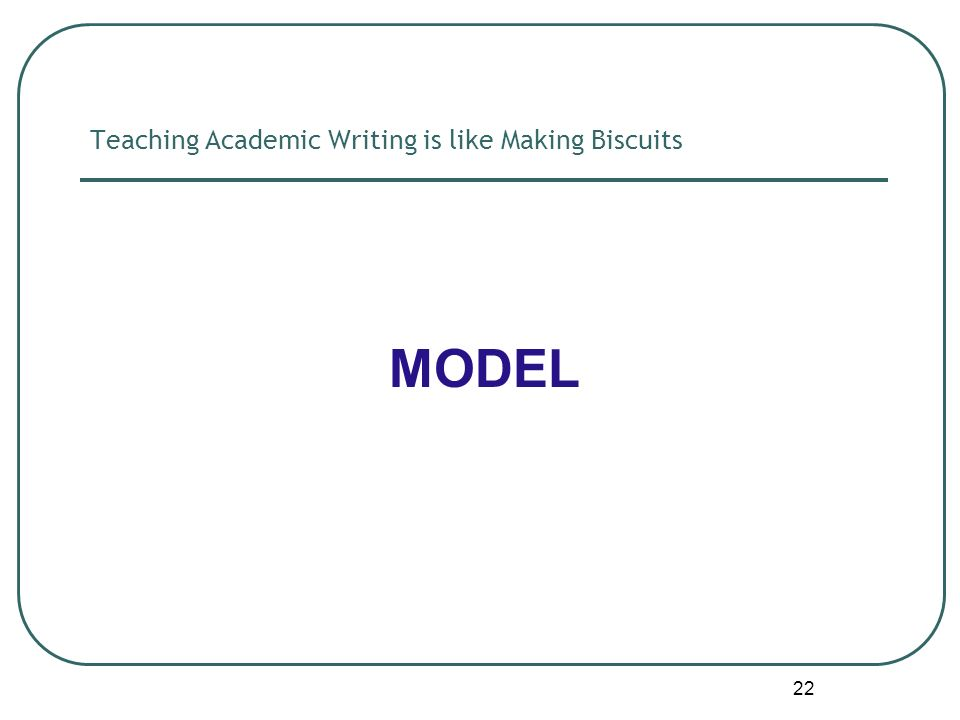 22 Teaching Academic Writing is like Making Biscuits MODEL