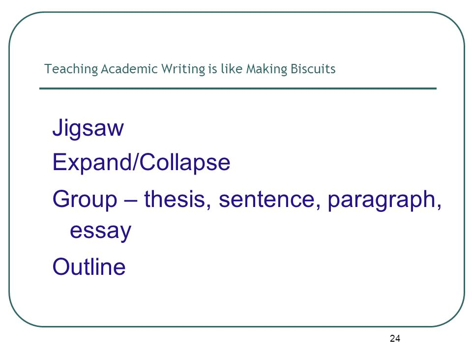 24 Teaching Academic Writing is like Making Biscuits Jigsaw Expand/Collapse Group – thesis, sentence, paragraph, essay Outline