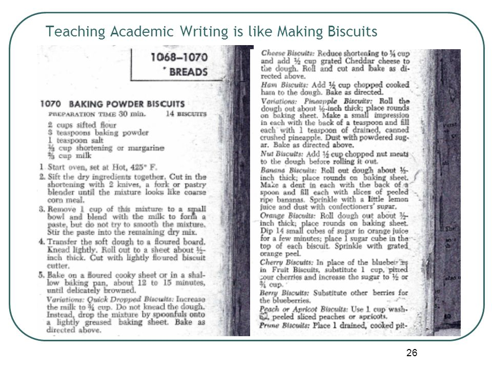 26 Teaching Academic Writing is like Making Biscuits