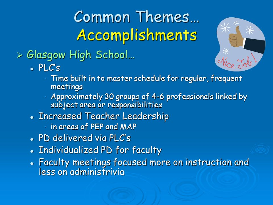 Common Themes… Accomplishments Glasgow High School… Glasgow High School… PLCs PLCs Time built in to master schedule for regular, frequent meetingsTime