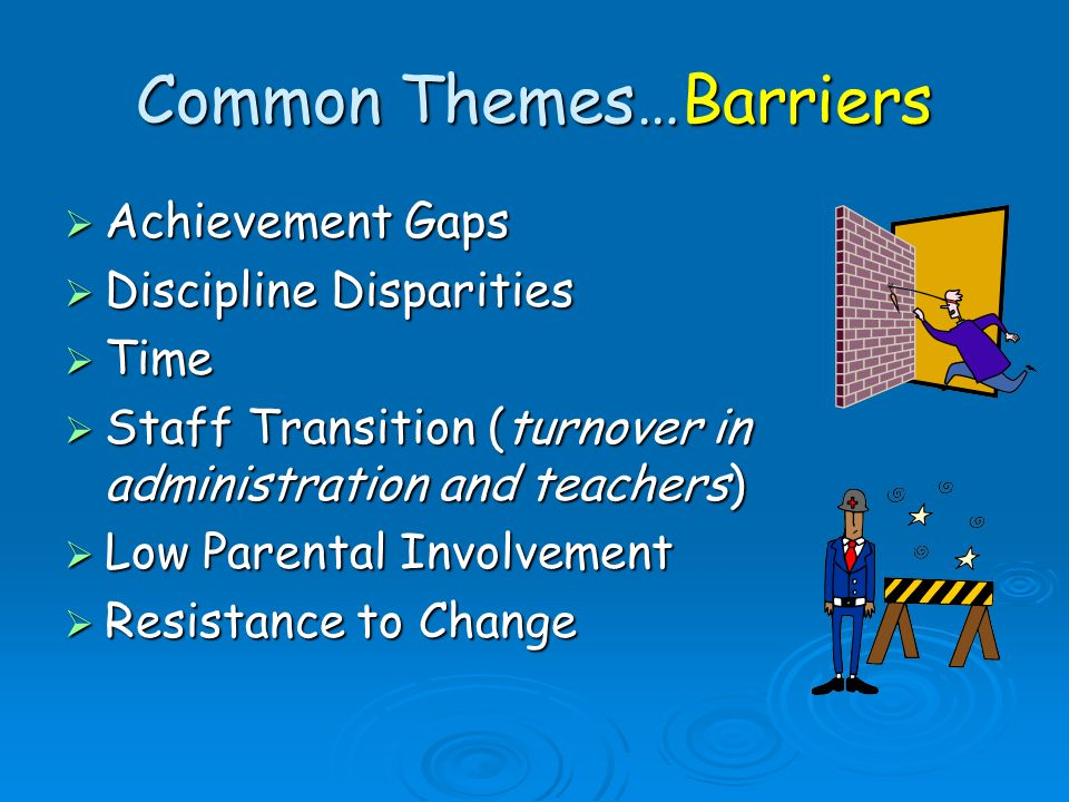 Common Themes…Barriers Achievement Gaps Achievement Gaps Discipline Disparities Discipline Disparities Time Time Staff Transition (turnover in adminis