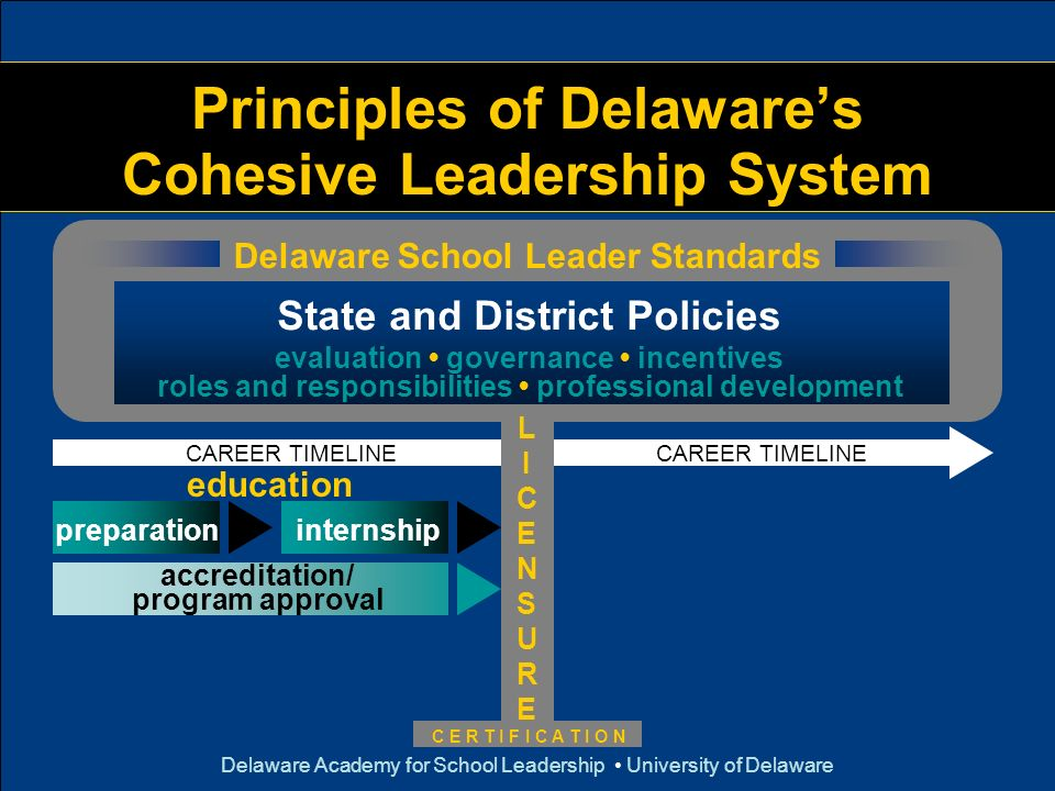 Delaware Academy for School Leadership University of Delaware Principles of Delawares Cohesive Leadership System Delaware School Leader Standards CARE