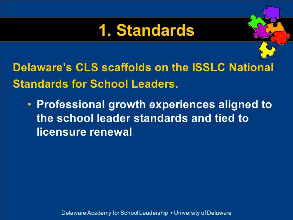 Delaware Academy for School Leadership University of Delaware 1. Standards Delawares CLS scaffolds on the ISSLC National Standards for School Leaders.