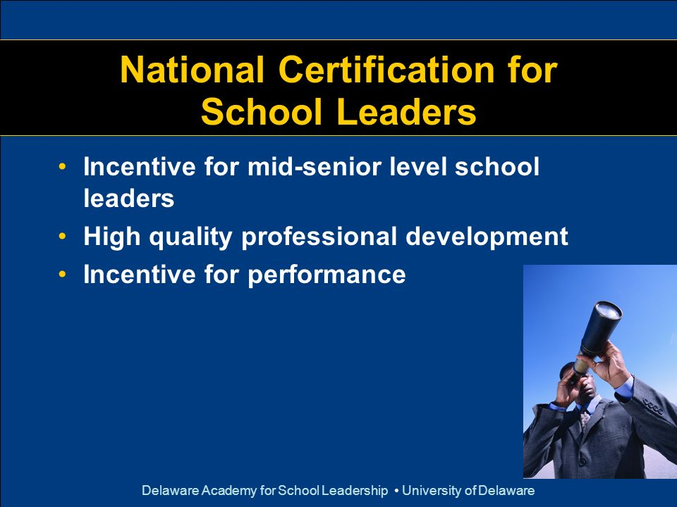 Delaware Academy for School Leadership University of Delaware National Certification for School Leaders Incentive for mid-senior level school leaders