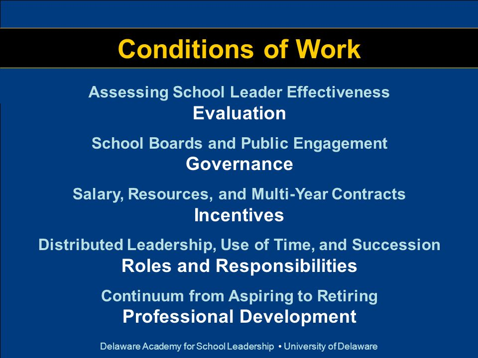 Delaware Academy for School Leadership University of Delaware Conditions of Work Assessing School Leader Effectiveness Evaluation School Boards and Pu