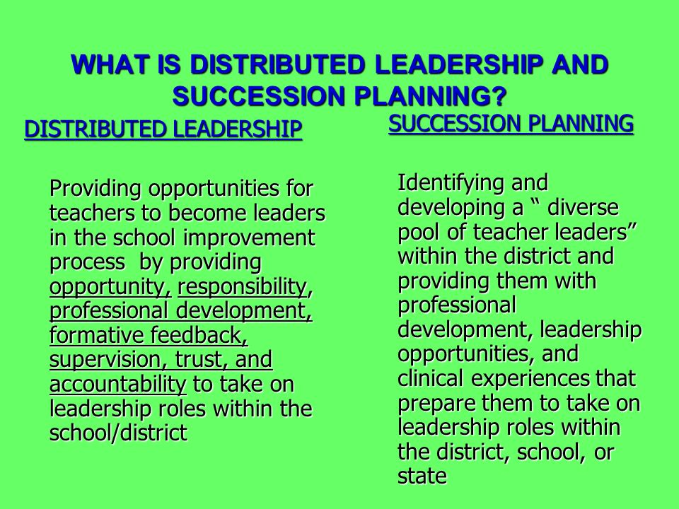 WHAT IS DISTRIBUTED LEADERSHIP AND SUCCESSION PLANNING? DISTRIBUTED LEADERSHIP Providing opportunities for teachers to become leaders in the school im