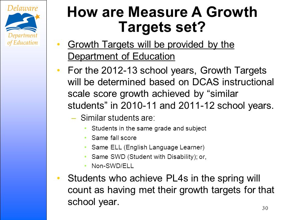 How are Measure A Growth Targets set? Growth Targets will be provided by the Department of Education For the 2012-13 school years, Growth Targets will