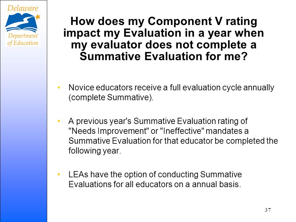 How does my Component V rating impact my Evaluation in a year when my evaluator does not complete a Summative Evaluation for me? Novice educators rece