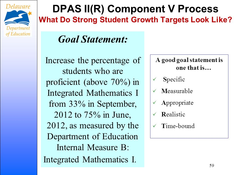 DPAS II(R) Component V Process What Do Strong Student Growth Targets Look Like? Goal Statement: Increase the percentage of students who are proficient