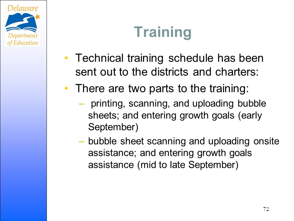 Training Technical training schedule has been sent out to the districts and charters: There are two parts to the training: – printing, scanning, and u