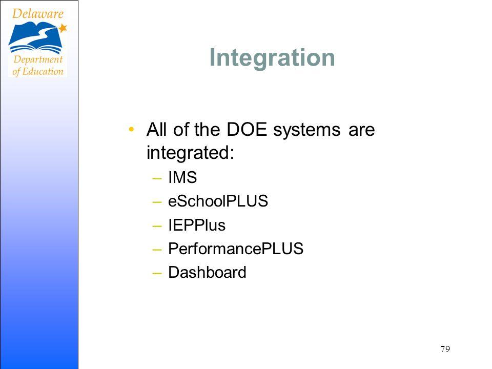 Integration All of the DOE systems are integrated: –IMS –eSchoolPLUS –IEPPlus –PerformancePLUS –Dashboard 79