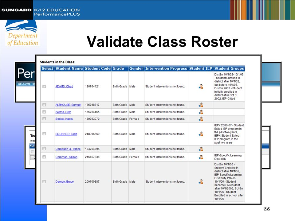 Validate Class Roster 86