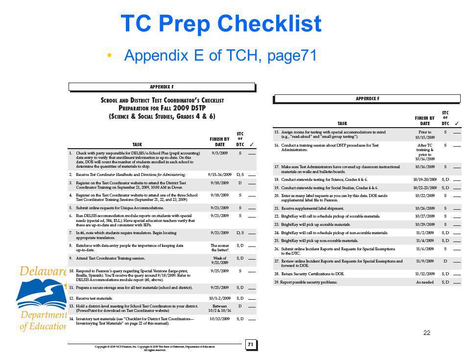 22 TC Prep Checklist Appendix E of TCH, page71