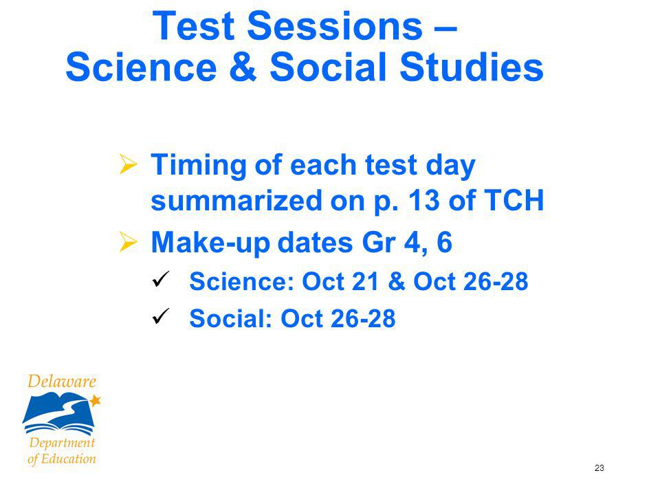 23 Test Sessions – Science & Social Studies Timing of each test day summarized on p.