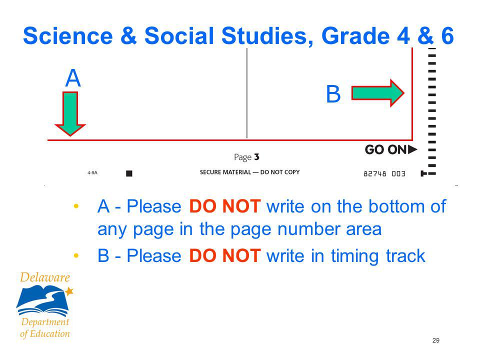 29 Science & Social Studies, Grade 4 & 6 A - Please DO NOT write on the bottom of any page in the page number area B - Please DO NOT write in timing track B A