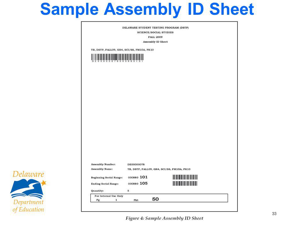 33 Sample Assembly ID Sheet