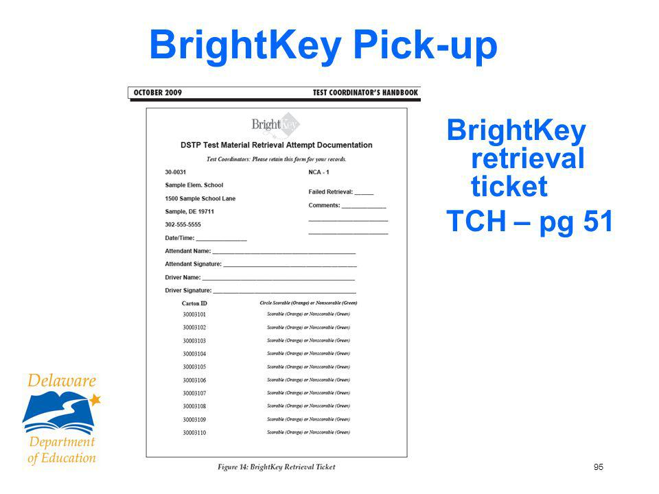 95 BrightKey Pick-up BrightKey retrieval ticket TCH – pg 51