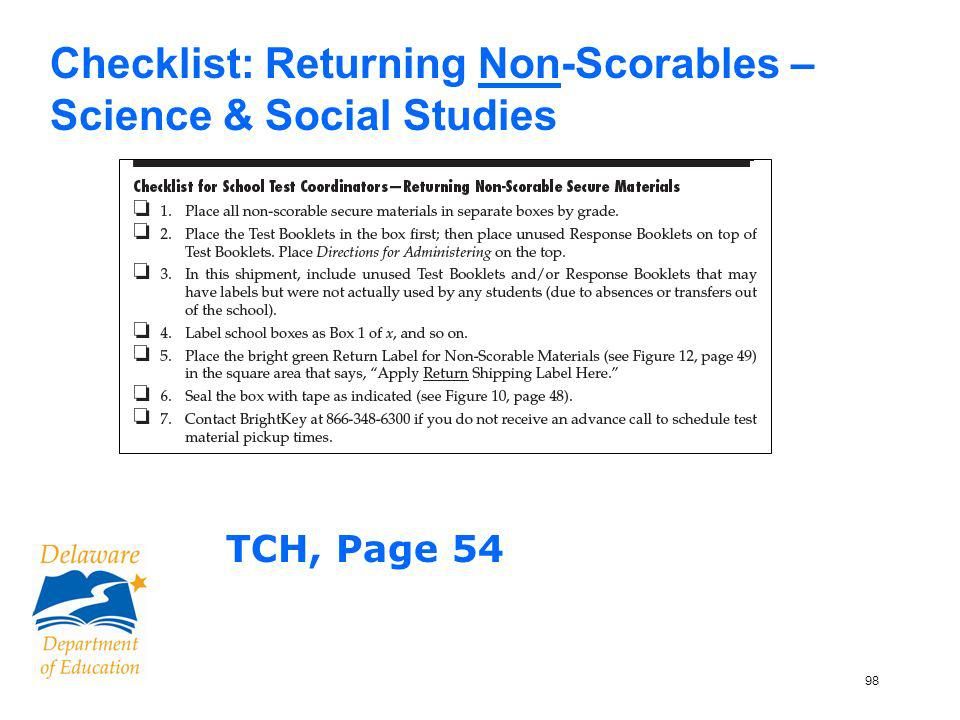 98 Checklist: Returning Non-Scorables – Science & Social Studies TCH, Page 54