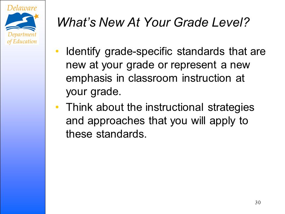Whats New At Your Grade Level? Identify grade-specific standards that are new at your grade or represent a new emphasis in classroom instruction at yo
