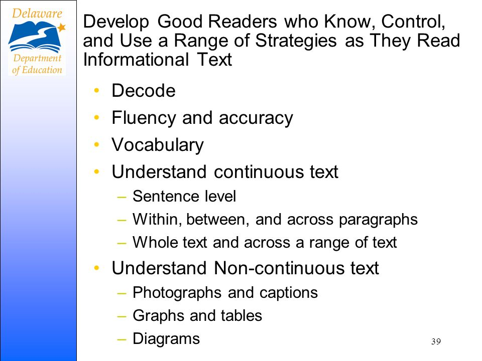 Develop Good Readers who Know, Control, and Use a Range of Strategies as They Read Informational Text Decode Fluency and accuracy Vocabulary Understan