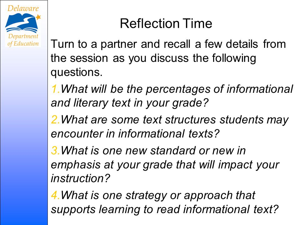 Reflection Time Turn to a partner and recall a few details from the session as you discuss the following questions. 1.What will be the percentages of
