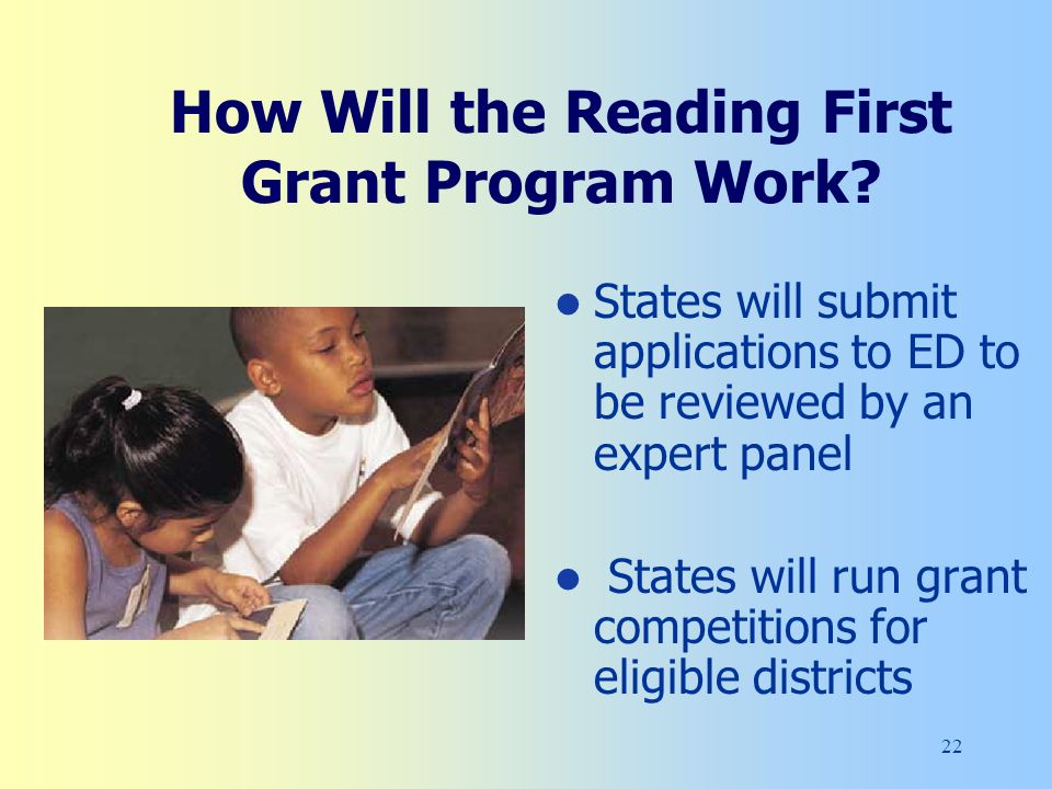 22 How Will the Reading First Grant Program Work.