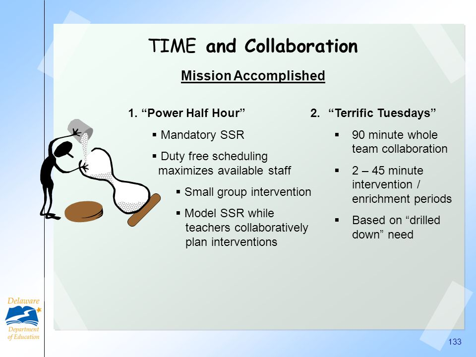 131 TIME and Collaboration Mission Impossible Finding blocks of 30 minutes w/o missing core content Finding staff available during those blocks to pro