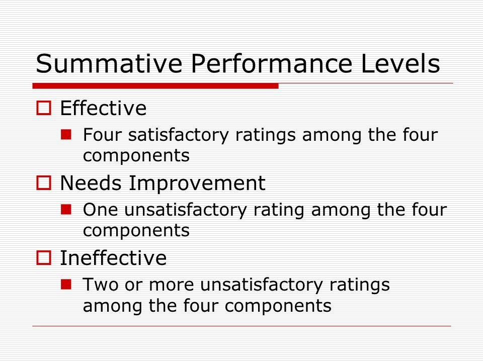 Summative Performance Levels Effective Four satisfactory ratings among the four components Needs Improvement One unsatisfactory rating among the four