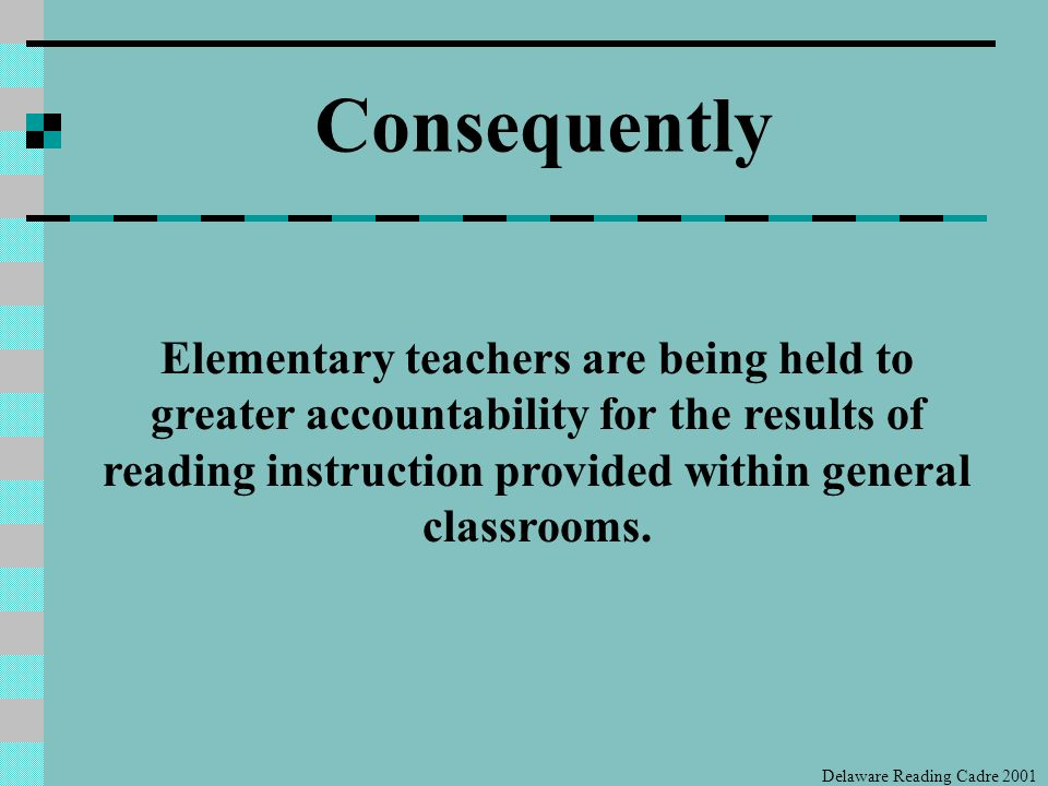 Introduction, Instruction and Mastery Continuum (National Reading Panel, 2000) Delaware Reading Cadre 2001 Reading Dimension K12345 Phonemic Awareness Systematic Phonetic Instruction Fluency Background Information & Vocabulary Comprehension Motivation to Read