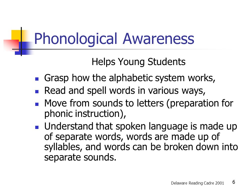 7 Listening Rhyme Awareness Awareness Concept of Ability of word of syllable initial sounds to manipulate (Onset and rime) phonemes (Phonemic awareness) Delaware Reading Cadre 2001