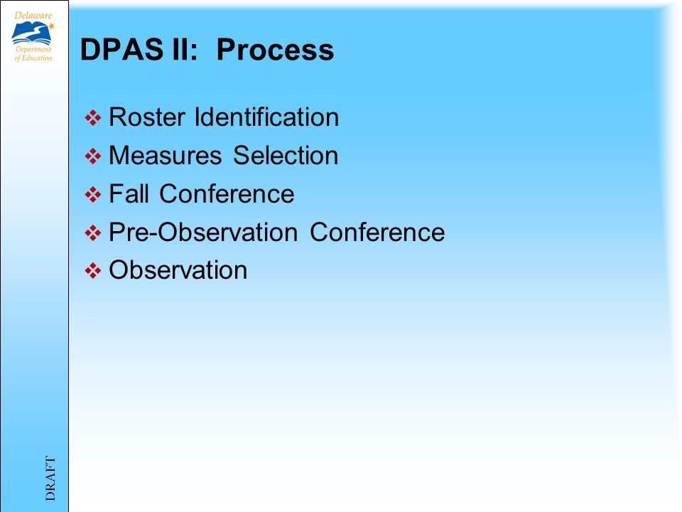 Materials for this module Power Point Presentation DPAS II Guide for Teachers http://www.doe.k12.de.us/csa/dpasii/default.shtmlhttp://www.doe.k12.de.u