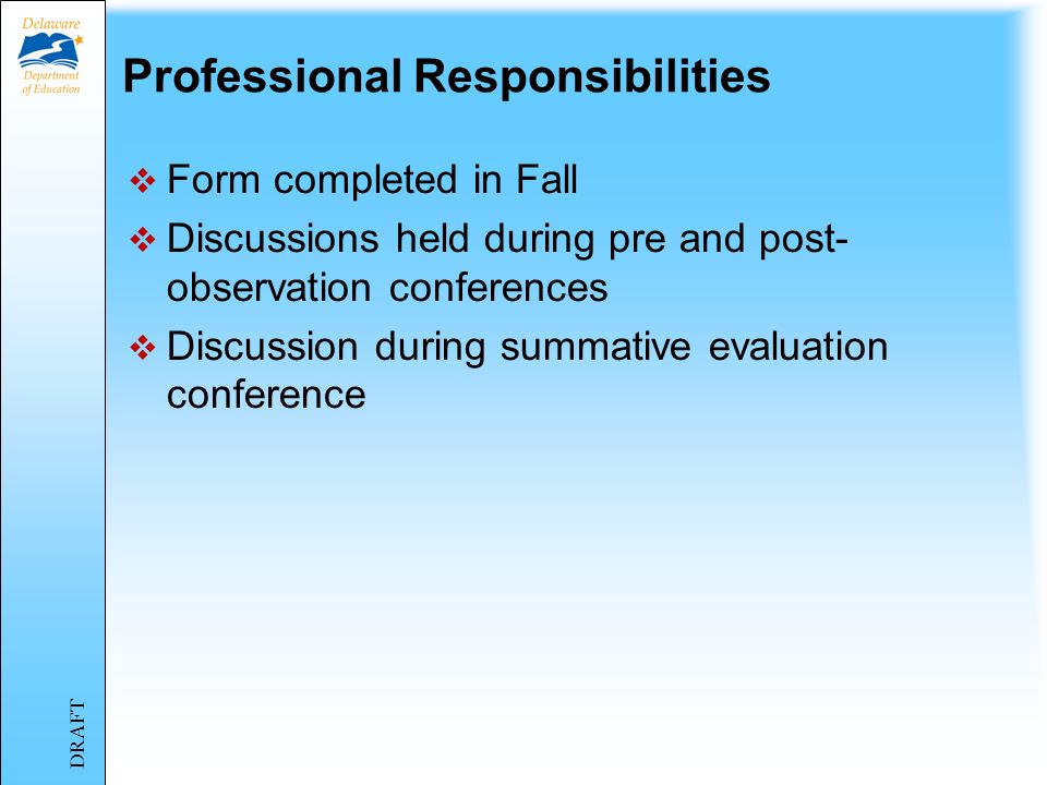 Professional Responsibilities Form completed in Fall Discussions held during pre and post- observation conferences Discussion during summative evaluation conference DRAFT