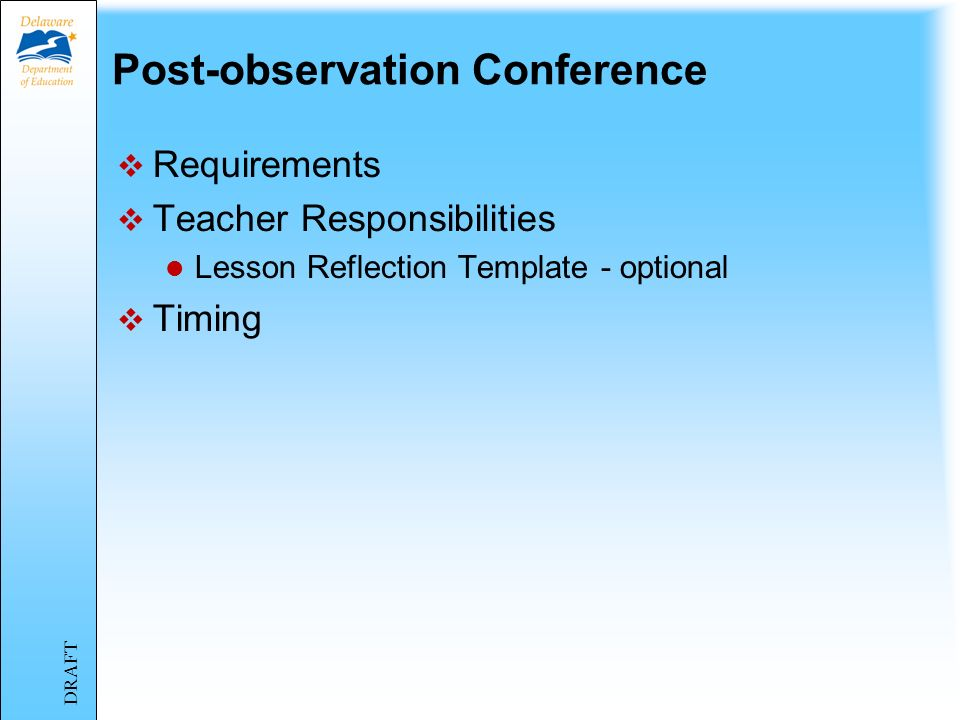 Post-observation Conference Requirements Teacher Responsibilities Lesson Reflection Template - optional Timing DRAFT