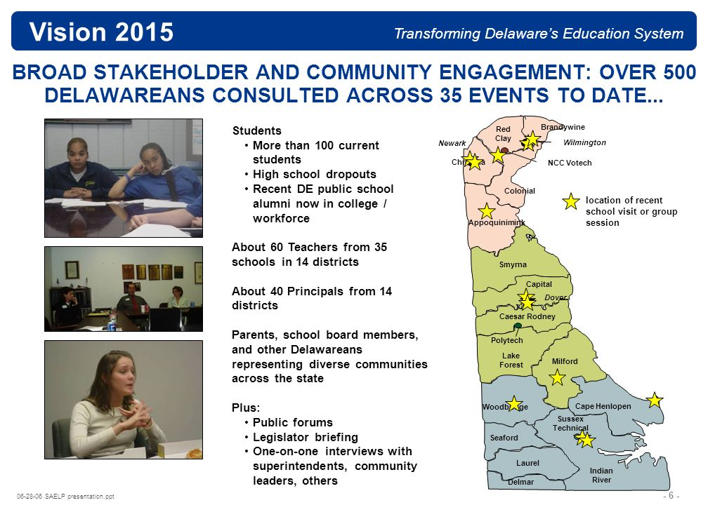 - 6 - 06-28-06 SAELP presentation.ppt Vision 2015 Transforming Delawares Education System BROAD STAKEHOLDER AND COMMUNITY ENGAGEMENT: OVER 500 DELAWAREANS CONSULTED ACROSS 35 EVENTS TO DATE...
