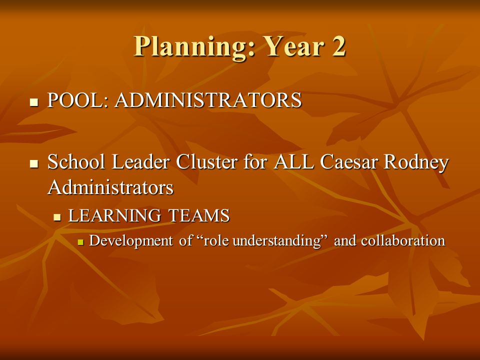 Planning: Year 2 POOL: ADMINISTRATORS POOL: ADMINISTRATORS School Leader Cluster for ALL Caesar Rodney Administrators School Leader Cluster for ALL Caesar Rodney Administrators LEARNING TEAMS LEARNING TEAMS Development of role understanding and collaboration Development of role understanding and collaboration