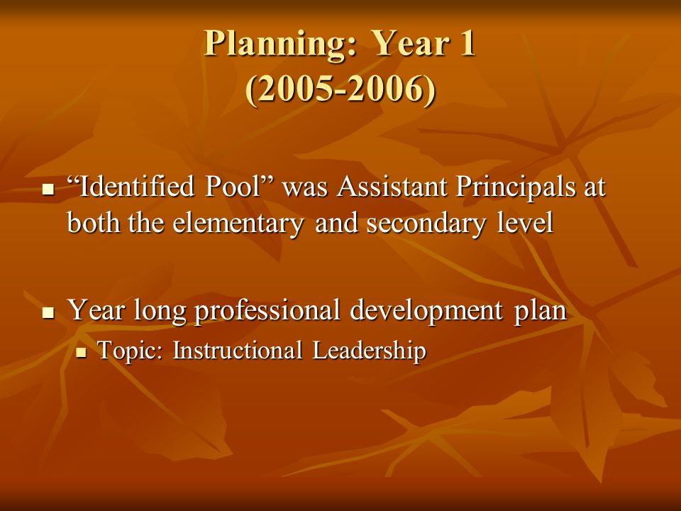 Planning: Year 1 (2005-2006) Identified Pool was Assistant Principals at both the elementary and secondary level Identified Pool was Assistant Principals at both the elementary and secondary level Year long professional development plan Year long professional development plan Topic: Instructional Leadership Topic: Instructional Leadership
