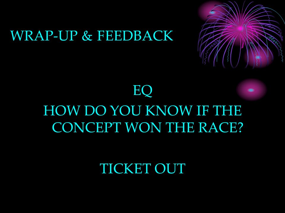 WRAP-UP & FEEDBACK EQ HOW DO YOU KNOW IF THE CONCEPT WON THE RACE TICKET OUT