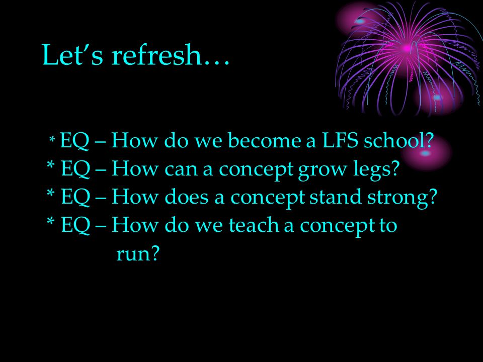 Lets refresh… * EQ – How do we become a LFS school.