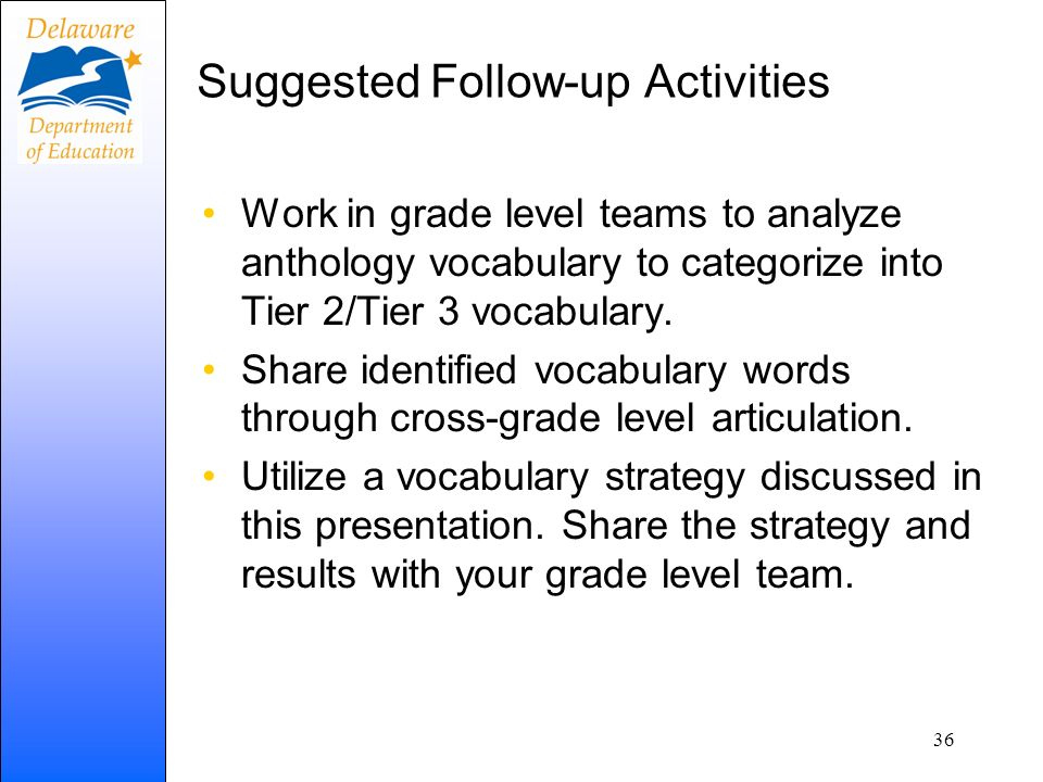 Suggested Follow-up Activities Work in grade level teams to analyze anthology vocabulary to categorize into Tier 2/Tier 3 vocabulary. Share identified
