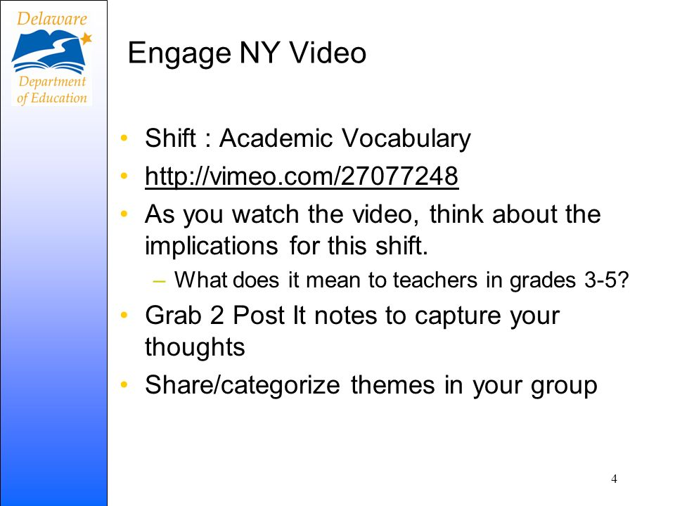 Engage NY Video Shift : Academic Vocabulary http://vimeo.com/27077248 As you watch the video, think about the implications for this shift. –What does