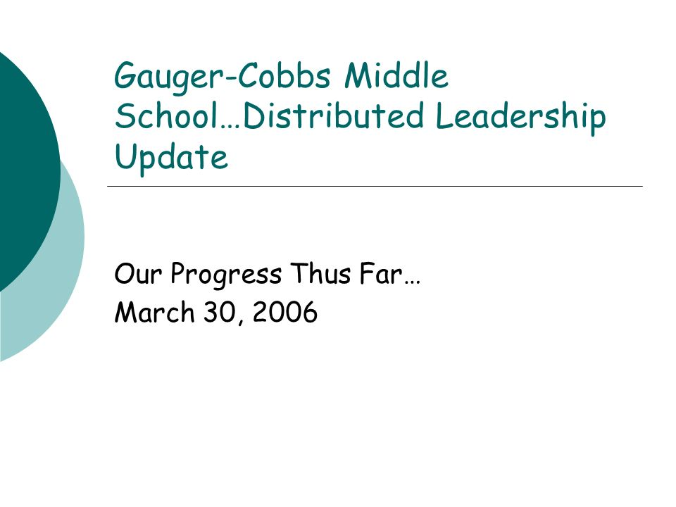 Gauger-Cobbs Middle School…Distributed Leadership Update Our Progress Thus Far… March 30, 2006