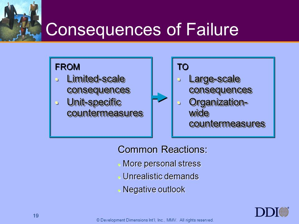 19 © Development Dimensions Intl, Inc., MMV. All rights reserved. 19 Consequences of Failure FROM Limited-scale consequences Limited-scale consequence