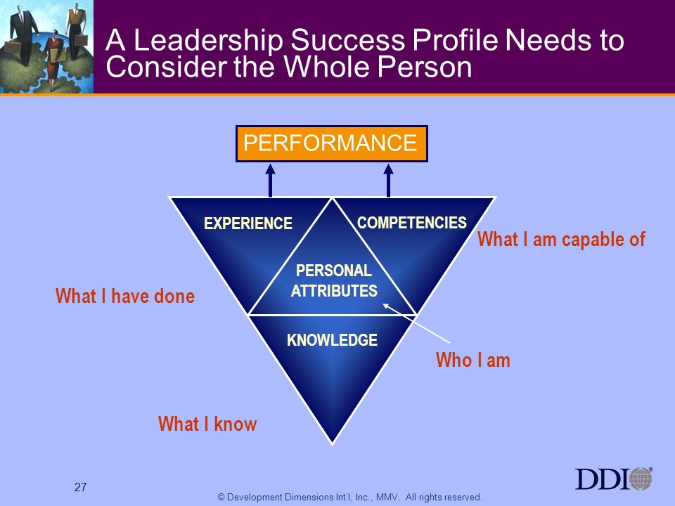 27 © Development Dimensions Intl, Inc., MMV. All rights reserved. 27 A Leadership Success Profile Needs to Consider the Whole Person PERFORMANCE EXPER